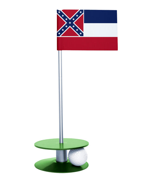 Mississippi State Flag Putt-A-Round putting aid with green base. Great way to improve your golf short game skills. Makes an awesome gift or giveaway!