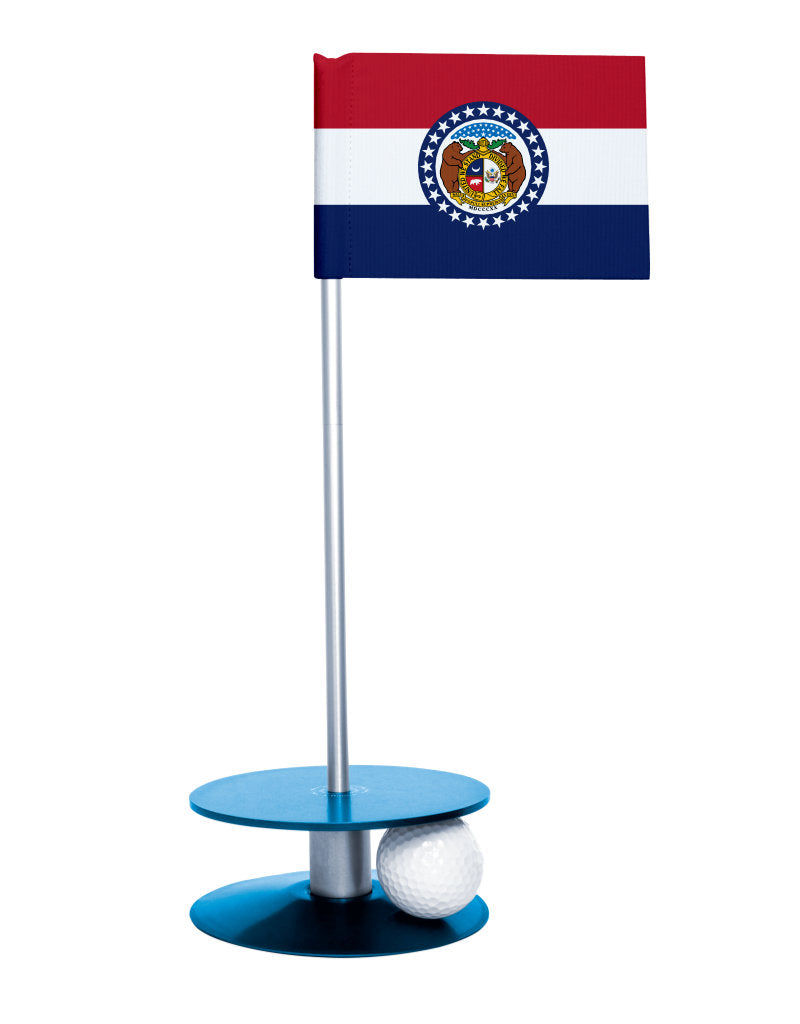 Missouri State Flag Putt-A-Round putting aid with blue base. Great way to improve your golf short game skills. Makes an awesome gift or giveaway!