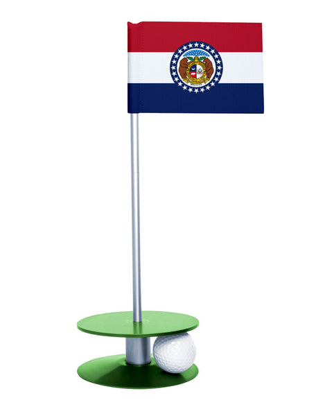 Missouri State Flag Putt-A-Round putting aid with green base. Great way to improve your golf short game skills. Makes an awesome gift or giveaway!