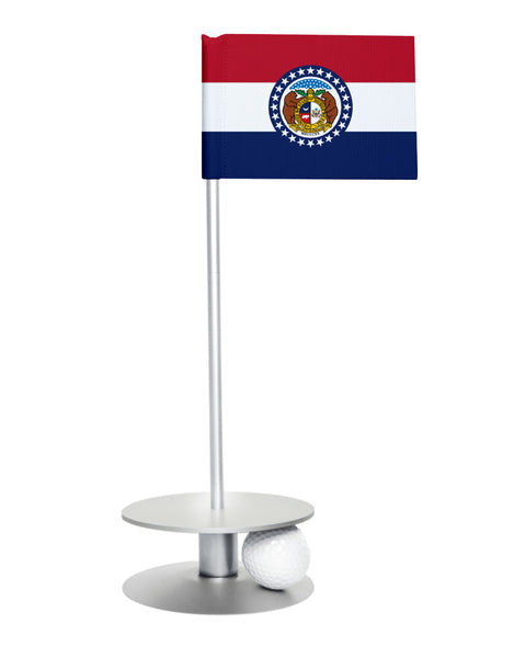 Missouri State Flag Putt-A-Round putting aid with silver base. Great way to improve your golf short game skills. Makes an awesome gift or giveaway!