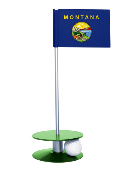 Montana State Flag Putt-A-Round putting aid with green base. Great way to improve your golf short game skills. Makes an awesome gift or giveaway!