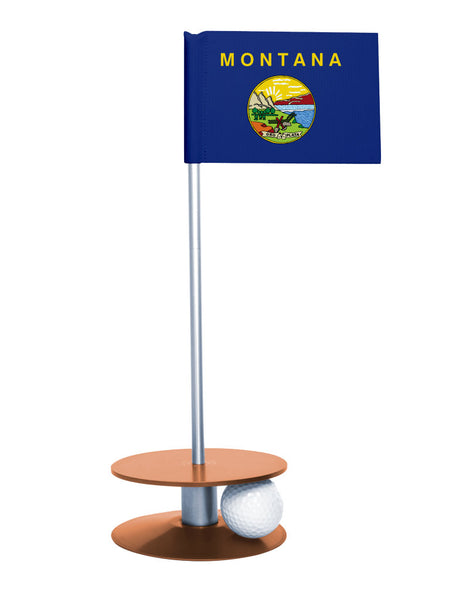 Montana State Flag Putt-A-Round putting aid with orange base. Great way to improve your golf short game skills. Makes an awesome gift or giveaway!