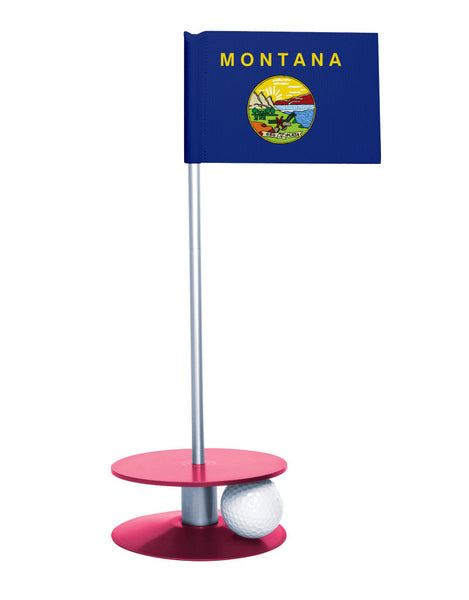 Montana State Flag Putt-A-Round putting aid with pink base. Great way to improve your golf short game skills. Makes an awesome gift or giveaway!