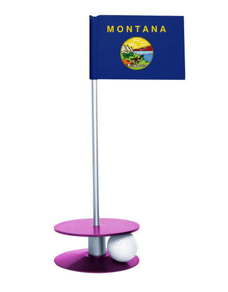 Montana State Flag Putt-A-Round putting aid with purple base. Great way to improve your golf short game skills. Makes an awesome gift or giveaway!