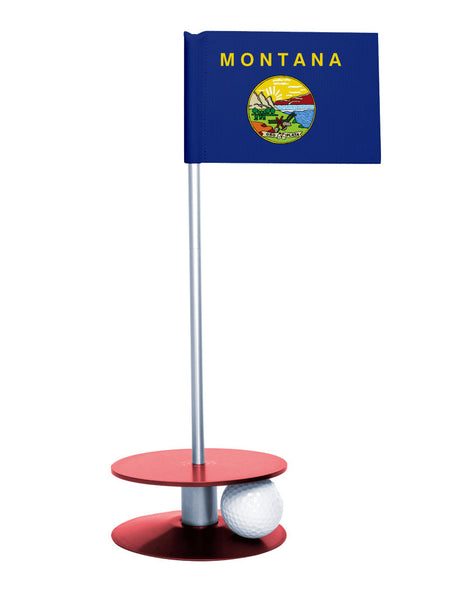 Montana State Flag Putt-A-Round putting aid with red base. Great way to improve your golf short game skills. Makes an awesome gift or giveaway!