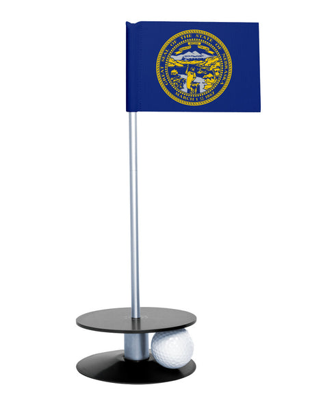 Nebraska State Flag Putt-A-Round putting aid with black base. Great way to improve your golf short game skills. Makes an awesome gift or giveaway!