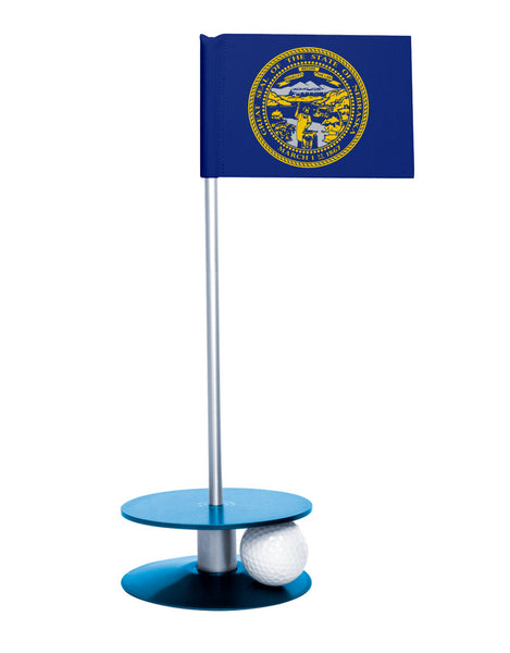 Nebraska State Flag Putt-A-Round putting aid with blue base. Great way to improve your golf short game skills. Makes an awesome gift or giveaway!