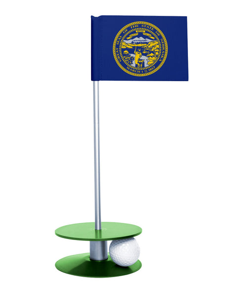 Nebraska State Flag Putt-A-Round putting aid with green base. Great way to improve your golf short game skills. Makes an awesome gift or giveaway!