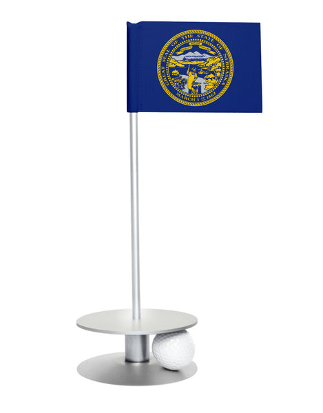 Nebraska State Flag Putt-A-Round putting aid with silver base. Great way to improve your golf short game skills. Makes an awesome gift or giveaway!