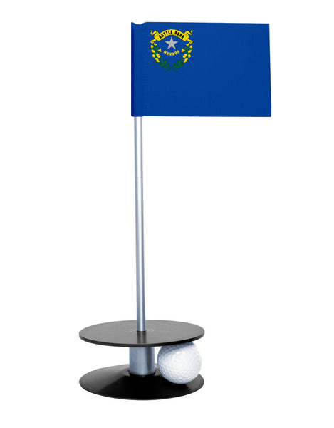 Nevada State Flag Putt-A-Round putting aid with black base. Great way to improve your golf short game skills. Makes an awesome gift or giveaway!