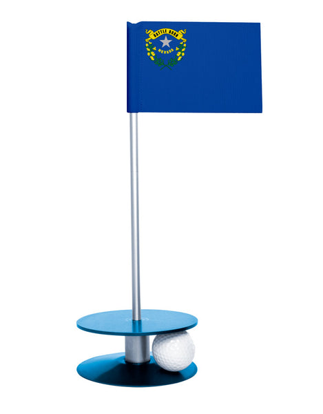 Nevada State Flag Putt-A-Round putting aid with blue base. Great way to improve your golf short game skills. Makes an awesome gift or giveaway!