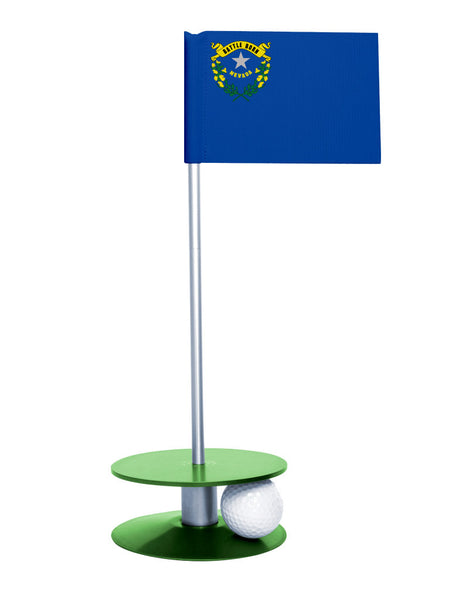 Nevada State Flag Putt-A-Round putting aid with green base. Great way to improve your golf short game skills. Makes an awesome gift or giveaway!