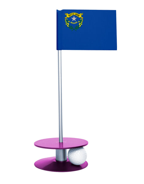 Nevada State Flag Putt-A-Round putting aid with purple base. Great way to improve your golf short game skills. Makes an awesome gift or giveaway!