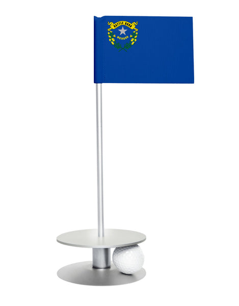 Nevada State Flag Putt-A-Round putting aid with silver base. Great way to improve your golf short game skills. Makes an awesome gift or giveaway!