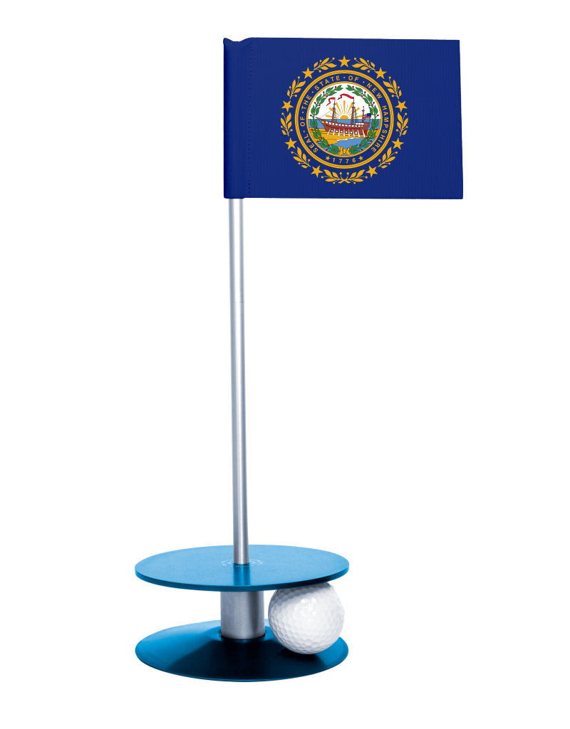 New Hampshire State Flag Putt-A-Round putting aid with blue base. Great way to improve your golf short golf game skills. Makes an awesome gift or giveaway!