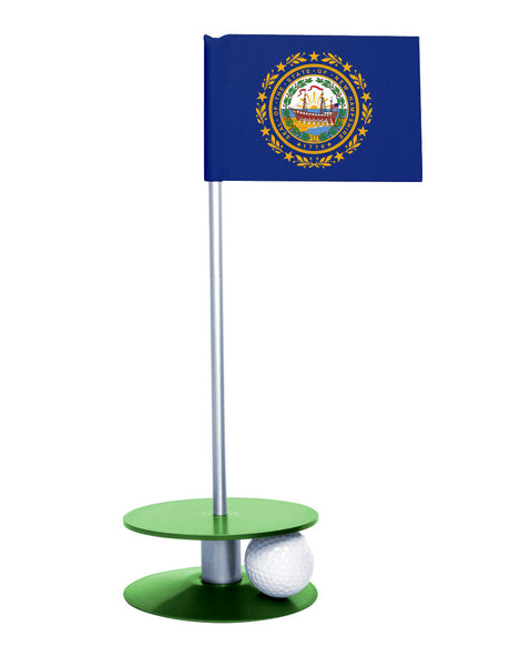 New Hampshire State Flag Putt-A-Round putting aid with green base. Great way to improve your golf short golf game skills. Makes an awesome gift or giveaway!