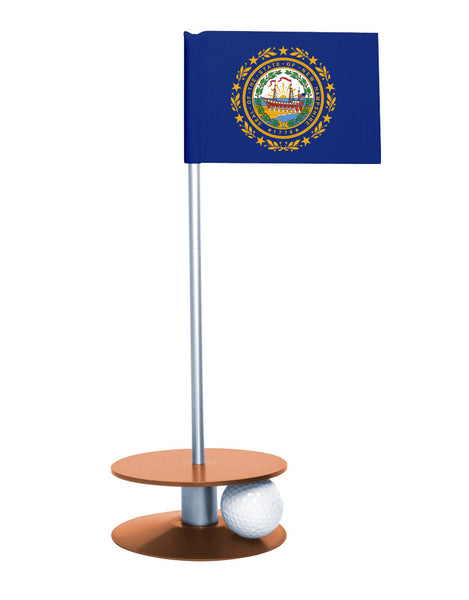 New Hampshire State Flag Putt-A-Round putting aid with orange base. Great way to improve your golf short golf game skills. Makes an awesome gift or giveaway!