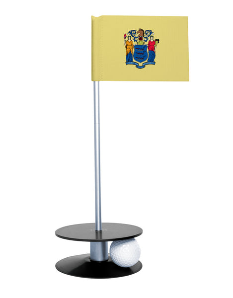 New Jersey State Flag Putt-A-Round putting aid with black base. Great way to improve your golf short golf game skills. Makes an awesome gift or giveaway!