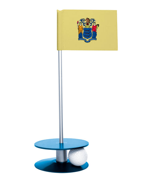 New Jersey State Flag Putt-A-Round putting aid with blue base. Great way to improve your golf short golf game skills. Makes an awesome gift or giveaway!