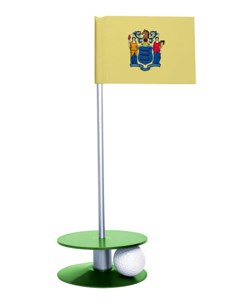 New Jersey State Flag Putt-A-Round putting aid with green base. Great way to improve your golf short golf game skills. Makes an awesome gift or giveaway!
