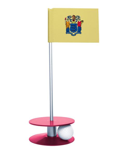 New Jersey State Flag Putt-A-Round putting aid with pink base. Great way to improve your golf short golf game skills. Makes an awesome gift or giveaway!