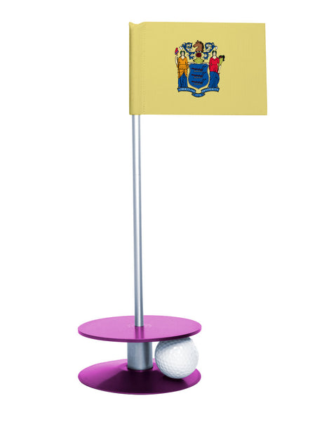 New Jersey State Flag Putt-A-Round putting aid with purple base. Great way to improve your golf short golf game skills. Makes an awesome gift or giveaway!