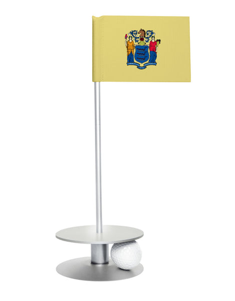 New Jersey State Flag Putt-A-Round putting aid with silver base. Great way to improve your golf short golf game skills. Makes an awesome gift or giveaway!