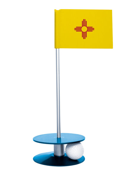New Mexico State Flag Putt-A-Round putting aid with blue base. Great way to improve your golf short golf game skills. Makes a unique gift or giveaway!