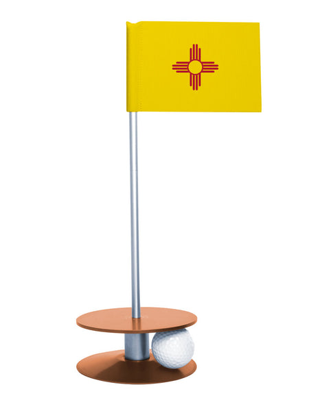 New Mexico State Flag Putt-A-Round putting aid with orange base. Great way to improve your golf short golf game skills. Makes a unique gift or giveaway!