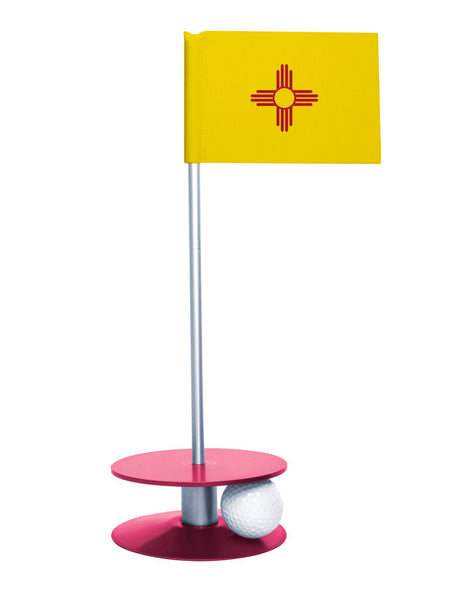 New Mexico State Flag Putt-A-Round putting aid with pink base. Great way to improve your golf short golf game skills. Makes a unique gift or giveaway!