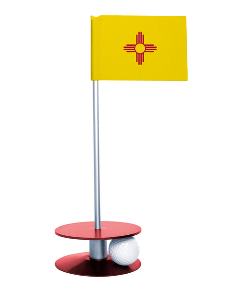 New Mexico State Flag Putt-A-Round putting aid with red base. Great way to improve your golf short golf game skills. Makes a unique gift or giveaway!