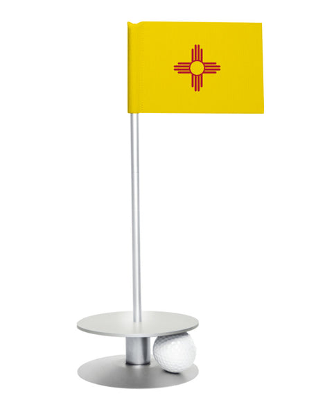 New Mexico State Flag Putt-A-Round putting aid with silver base. Great way to improve your golf short golf game skills. Makes a unique gift or giveaway!