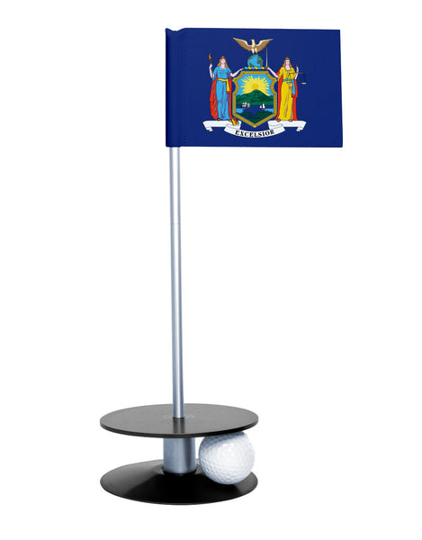 New York State Flag Putt-A-Round putting aid with black base. Great way to improve your golf short golf game skills. Makes a unique gift or giveaway!
