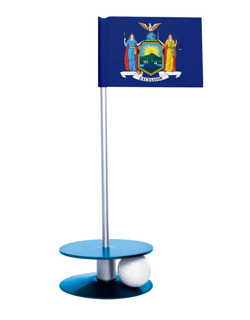 New York State Flag Putt-A-Round putting aid with blue base. Great way to improve your golf short golf game skills. Makes a unique gift or giveaway!