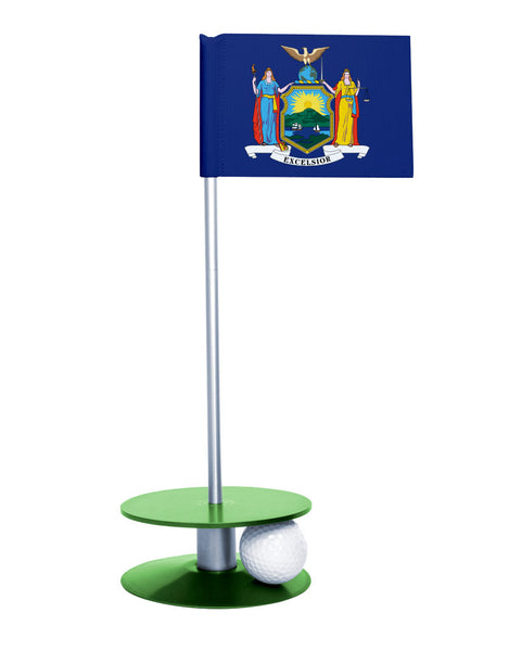 New York State Flag Putt-A-Round putting aid with green base. Great way to improve your golf short golf game skills. Makes a unique gift or giveaway!