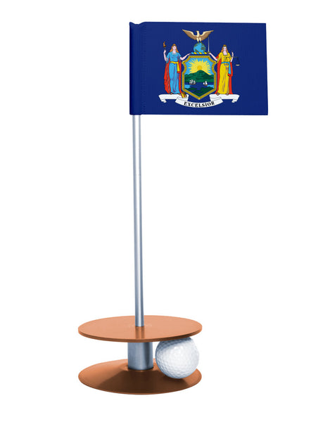 New York State Flag Putt-A-Round putting aid with orange base. Great way to improve your golf short golf game skills. Makes a unique gift or giveaway!