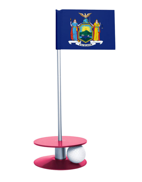 New York State Flag Putt-A-Round putting aid with pink base. Great way to improve your golf short golf game skills. Makes a unique gift or giveaway!