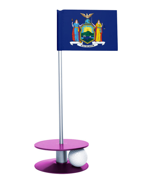 New York State Flag Putt-A-Round putting aid with purple base. Great way to improve your golf short golf game skills. Makes a unique gift or giveaway!