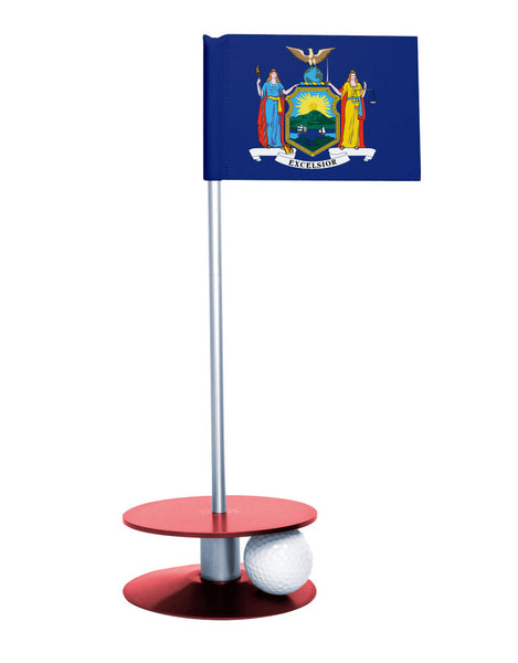 New York State Flag Putt-A-Round putting aid with red base. Great way to improve your golf short golf game skills. Makes a unique gift or giveaway!