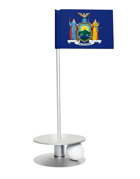 New York State Flag Putt-A-Round putting aid with silver base. Great way to improve your golf short golf game skills. Makes a unique gift or giveaway!