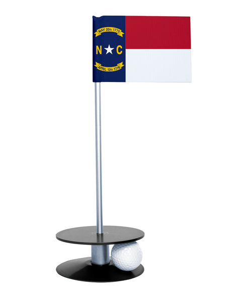 North Carolina State Flag Putt-A-Round putting aid with black base. Great way to improve your golf short golf game skills. Makes a unique gift or giveaway!