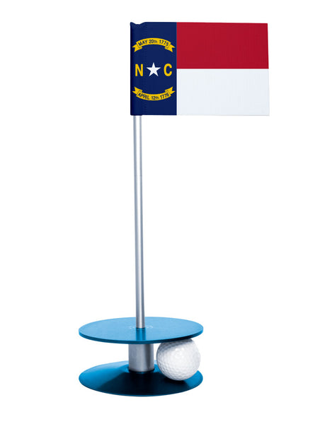 North Carolina State Flag Putt-A-Round putting aid with blue base. Great way to improve your golf short golf game skills. Makes a unique gift or giveaway!