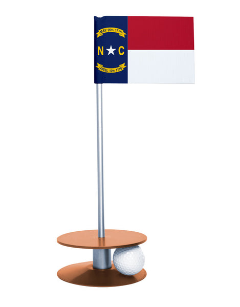 North Carolina State Flag Putt-A-Round putting aid with orange base. Great way to improve your golf short golf game skills. Makes a unique gift or giveaway!
