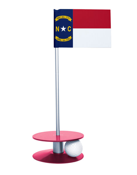 North Carolina State Flag Putt-A-Round putting aid with pink base. Great way to improve your golf short golf game skills. Makes a unique gift or giveaway!