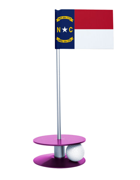 North Carolina State Flag Putt-A-Round putting aid with purple base. Great way to improve your golf short golf game skills. Makes a unique gift or giveaway!