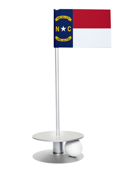 North Carolina State Flag Putt-A-Round putting aid with silver base. Great way to improve your golf short golf game skills. Makes a unique gift or giveaway!