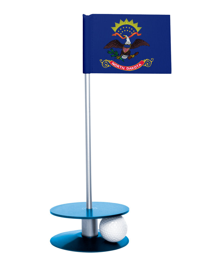 North Dakota State Flag Putt-A-Round putting aid with blue base. Great way to improve your golf short golf game skills. Makes a unique gift or giveaway!