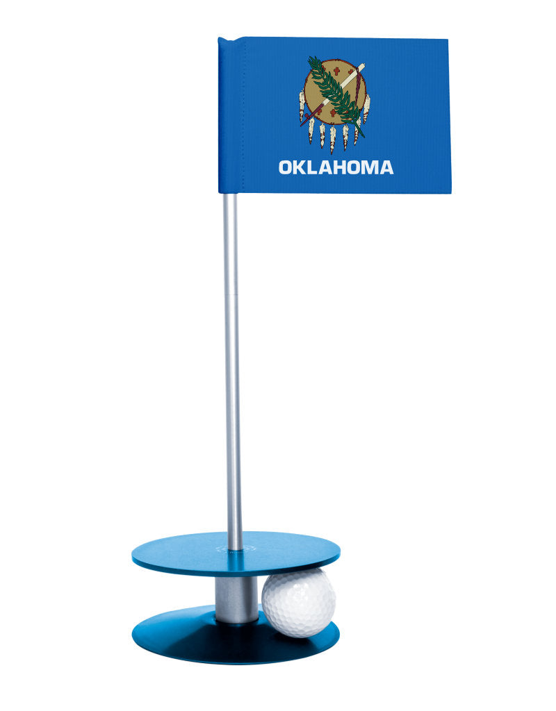Oklahoma State Flag Putt-A-Round putting aid with blue base. Great way to improve your golf short golf game skills. Makes a unique gift or giveaway!