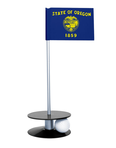 Oregon State Flag Putt-A-Round putting aid with black base. Great way to improve your golf short golf game skills. Makes a unique gift or giveaway!