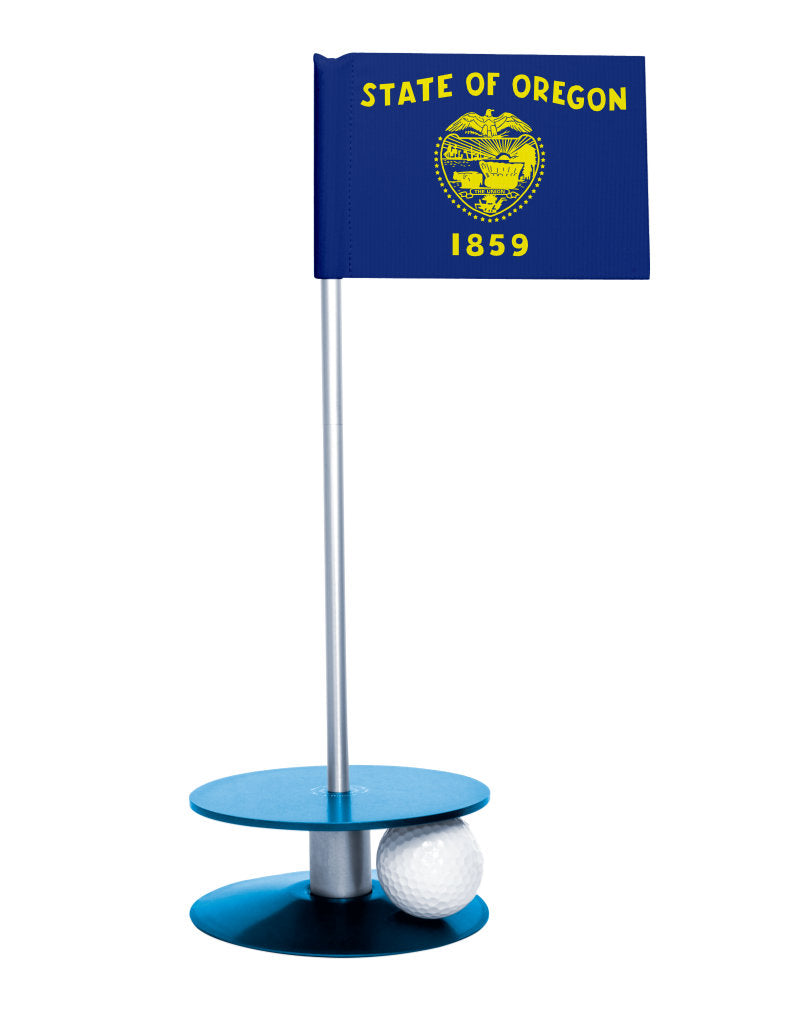 Oregon State Flag Putt-A-Round putting aid with blue base. Great way to improve your golf short golf game skills. Makes a unique gift or giveaway!